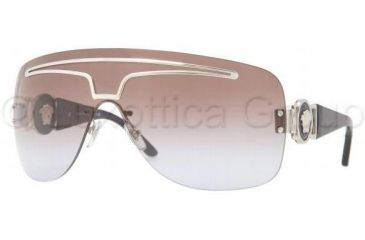 Versace VE2132 Sunglasses 100068-0138 - Silver Frame, Brown Gradient Violet Lenses