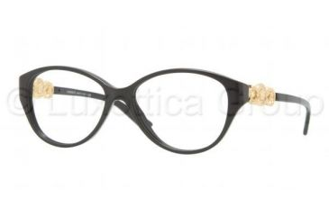Versace VE3161 Single Vision Prescription Eyeglasses GB1-5115 - Shiny Black Frame
