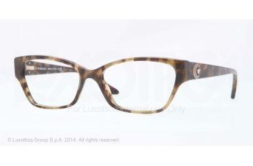 Versace VE3172 Single Vision Prescription Eyeglasses 5078-52 - Green Havana Frame