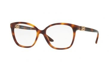 f41826fd0a4 Versace VE3235BA Single Vision Prescription Eyeglasses 5217-54 - Havana  Frame