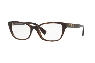 78f88f8caa6 Versace VE3249 Single Vision Prescription Eyeglasses 108-54 - Dark Havana  Frame
