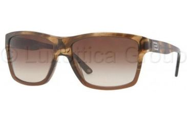 Versace VE4216 Sunglasses 965/13-5916 - Striped Brown Frame, Brown Gradient Lenses