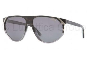 Versace VE4240 Sunglasses 503281-6113 - Striped Gray Frame, Polarized Gray Lenses
