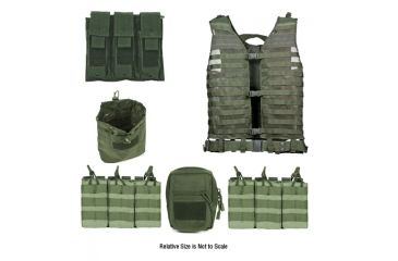 Zombie Zombat Kit, Green - with Vest and 5 Pouches