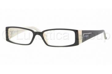 Vogue VO 2557B Eyeglasses Styles, Black Top On Horn Beige Frame w/Non-Rx 49 mm Diameter Lenses, 1345-4915
