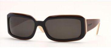 Vogue VO2444S-128087-6117 Sunglasses Black-cream-brown Frame / 61 mm Gray Lenses