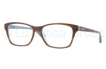 Vogue VO2714 Single Vision Prescription Eyeglasses 2014-5216 - Top Striped Brown/Azure Frame, Demo Lens Lenses