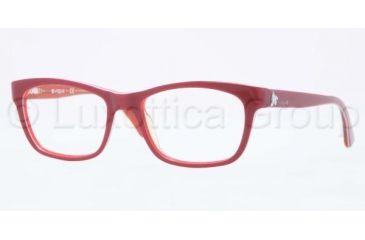 Vogue VO2767 Eyeglass Frames 1986-5017 - Top Bordeaux/Orange Transparent Frame, Demo Lens Lenses