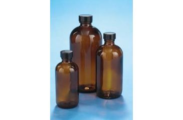 VWR Boston Round Bottles, Amber, Narrow Mouth VW5121628V21 Convenience Packs With Caps Attached