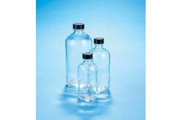 VWR Boston Round Bottles, Clear, Narrow Mouth VW5111628V26 Convenience Packs With Caps Attached