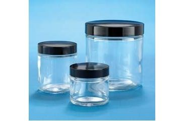 VWR Clear Glass Jars, Wide Mouth VW5410870V22 Convenience Packs With Caps Attached
