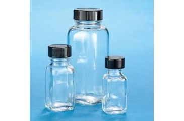 VWR French Square Bottles, Clear, Wide Mouth VW5610228V21 Convenience Packs With Caps Attached