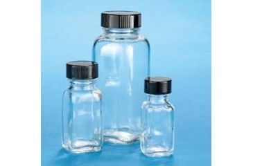 VWR French Square Bottles, Clear, Wide Mouth VW5610433C21 Bulk Packs With Unattached Caps In Bags