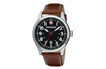 Wenger Black Dial Brown Leathe Strap 541102