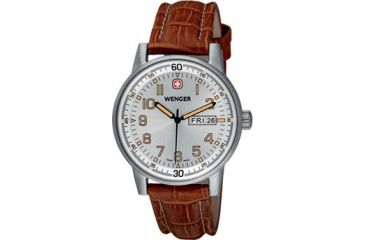 Wenger Commando Day-Date Men's Silver Dial and Brown Leather Strap 70170