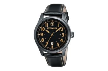 Wenger Gunmetal Pvd Case Black Dial Black Leather Strap 541105