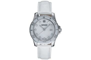 Wenger Ladies Sport Swiss Watch  w/ white Mother of Pearl dial with cyrstals, white Leather strap 70381
