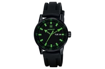 Wenger Mens Commando Day Date XL Swiss Watch w/ PVD Case black dial, green numerals, black silicone strap 70172