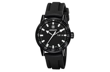 Wenger Mens Commando Day Date XL Swiss Watch w/ PVD case black dial white numerals, black silicone strap 70175