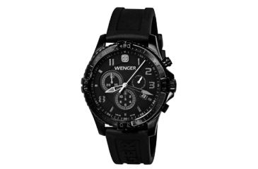 Wenger Mens Squadron Chrono Swiss Watch w/ PVD case/black dial/black silicone strap 77054