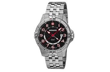 Wenger Mens Squadron GMT Swiss Watch w/ black dial, bracelet 77076