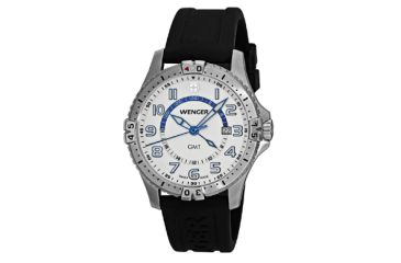 Wenger Mens Squadron GMT Swiss Watch w/ white dial black silicone stap 77070