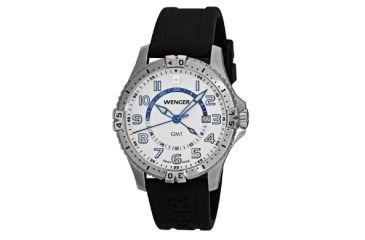 Wenger Mens Squadron GMT Swiss Watch w  white dial black silicone stap 77070 b4ff37960e