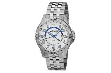 Wenger Mens Squadron GMT Swiss Watch w/ white dial, bracelet 77079