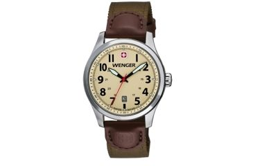 Wenger Sand Dial Olive Nylon Strap Brown Leather Accents 541108