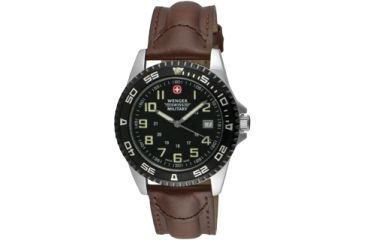 Wenger Swiss Military Sport VII Watch for Men, Brown Leather Strap 72935