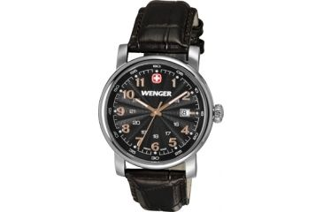 Wenger Urban Classic Black Sunray Textured Dial, Brown Leather Strap 1041.104