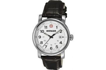 Wenger Urban Classic Silver Sunray Textured Dial, Brown Leather Strap 1041.101