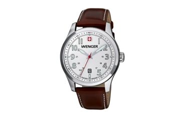 Wenger White Dial Brown Leather Strap 541103