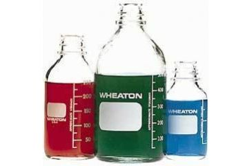 Wheaton Media Bottles, Graduated, Wheaton 219755 With Rubber-Lined Cap