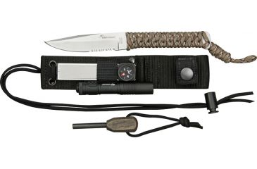 Wildsteer Teck Neck Survival Fixed Knife, Sandvik stainless partially serrated blade, Desert camo paracord wrapped handle WS111319