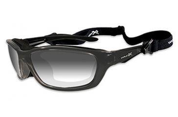 Wiley X Brick Sunglasses - LA Grey Light Adjusting Lens/ Metallic Black Frame 856