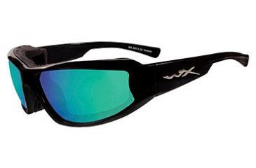 Wiley X Jake Sunglasses - Emerald Mirror (Polarized Amber) /Gloss Black CCJAK06