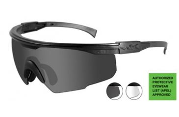 Wiley-X PT-1 Sunglasses - 2 Lens Package - Smoke Grey, Clear / Matte Black Frame PT-1SC