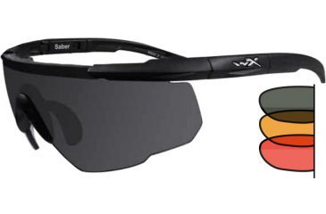 Wiley X Saber Advanced Eyeshields, Matte Black w/ Grey, Rust, red Lenses 309