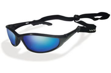 Wiley-X P-23 Polarized Blue Lunar Mirror / Gloss Black Sunglasses