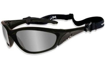 Wiley X Tilt P-58 Sunglasses Gloss Black Frame and Polarized Smoke Green Flash Lens