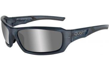 Wiley X Echo - Silver Flash/ Smoke Gray Tint Lens w/ Smoke Blue Frame CCECH01