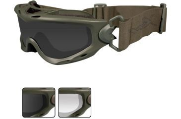 Wiley X Spear Goggles - Smoke Gray + Clear Lenses w/ Foliage Green Frame SP29G