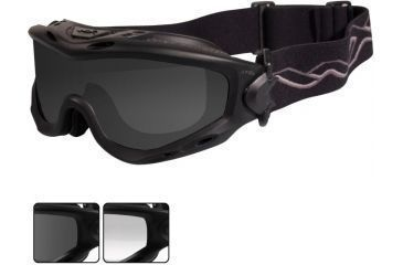 84cc8ab0aa Wiley X Spear Goggles - Smoke Gray + Clear Lenses w  Matte Black Frame Sp29b