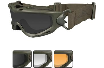 Wiley X Spear - Smoke Gray, Clear, Light Rust Lenses w/Foliage Green Frame SP293G