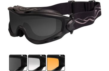 Wiley X Spear Goggles - Smoke Gray, Clear, Light Rust Lenses w/Matte Blk Frame SP293B