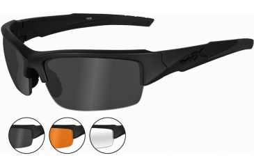 Wiley X Valor Sunglasses Smoke Gray Clear Light Rust Matte Black Frame CHVAL06