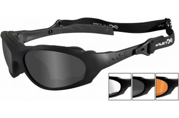 Wiley X Xl-1 Sunglasses - Smoke Gray, Clear, Light Rust Lenses w/ Matte Blk Frame 292