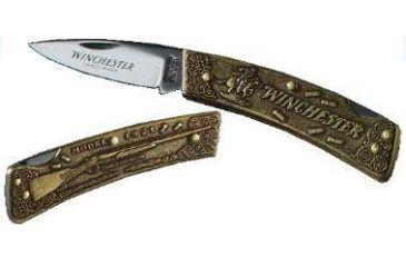 Winchester Knives 3in, 1 Blade Lockback Commemorative Knife w/ Cast Bronze Handle for Winchester Model 1921 Shotgun W 15 1989-1