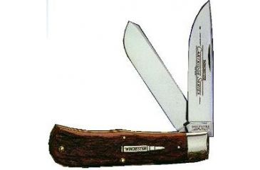 Winchester Knives 4 7/8in, 2 Blade Large Trapper w/ Burnt Orange Handle, Cartridge Shield W 18 29103